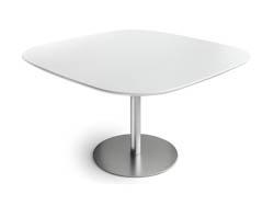 RONDETAFELS_Vierkante tafel met afgeronde hoeken en een blad in laminaat in een kleur naar keuze